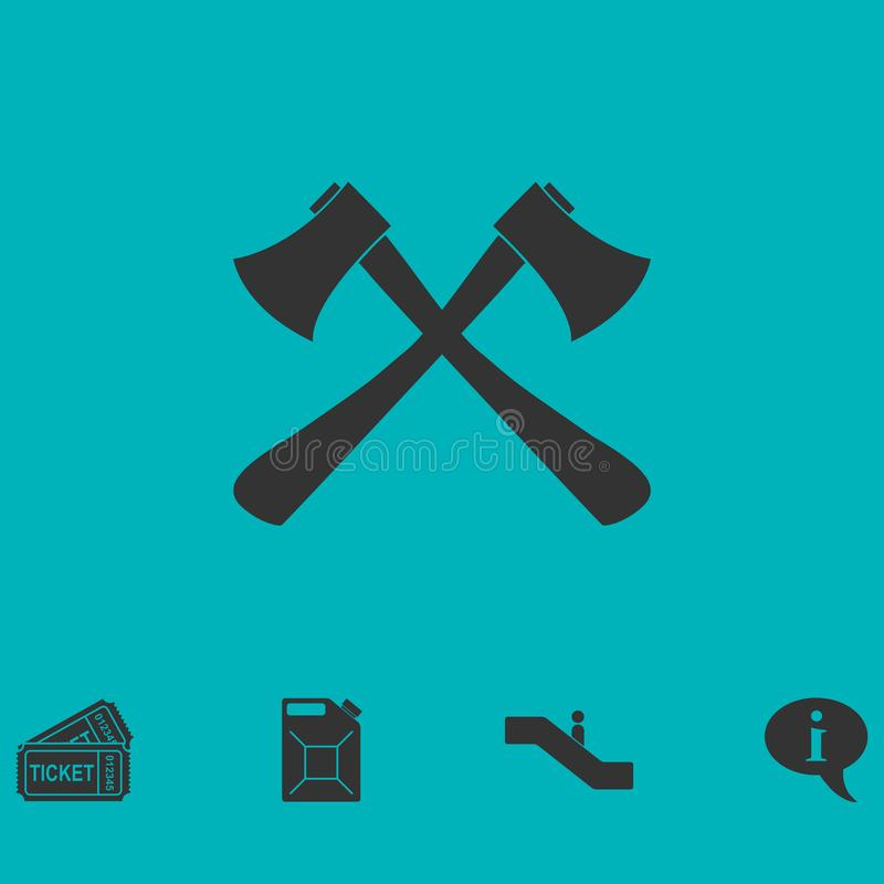 Las hachas del leñador cruzaron el icono completamente stock de ilustración