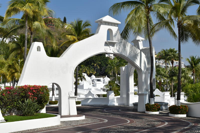 Las Hadas Resort streets and arches. Moorish style architecture and cobblestone streets with plazas and fountains is a hallmark of Las Hadas Resort in Manzanillo royalty free stock photography