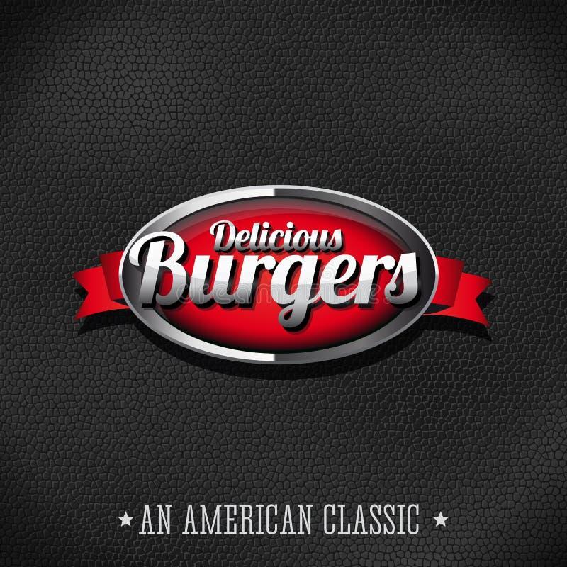Las hamburguesas deliciosas abotonan en el fondo de cuero ilustración del vector