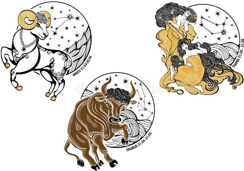 Las hembras del aries, del tauro, de los gemelos y el zodiaco firman. Hor ilustración del vector