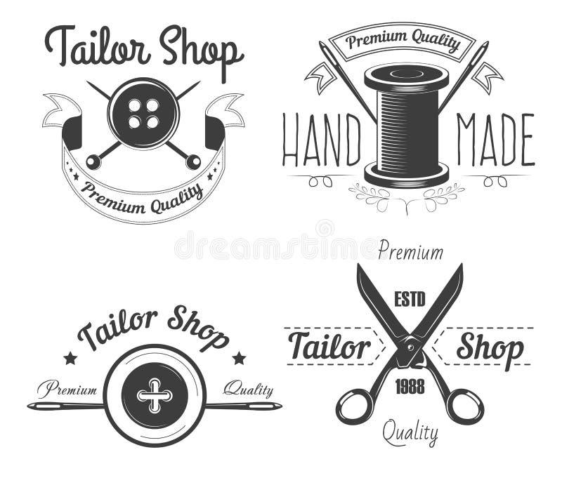 Las herramientas de costura adaptan la tienda aislaron la adaptación de los iconos y la reparación de la ropa ilustración del vector