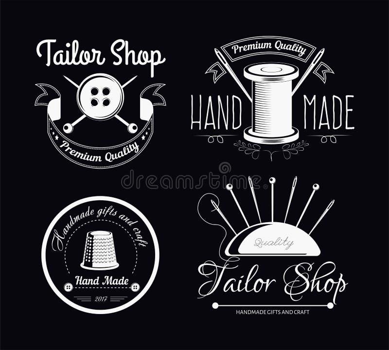 Las herramientas de costura adaptan la tienda aislaron los iconos que adaptan la ropa stock de ilustración