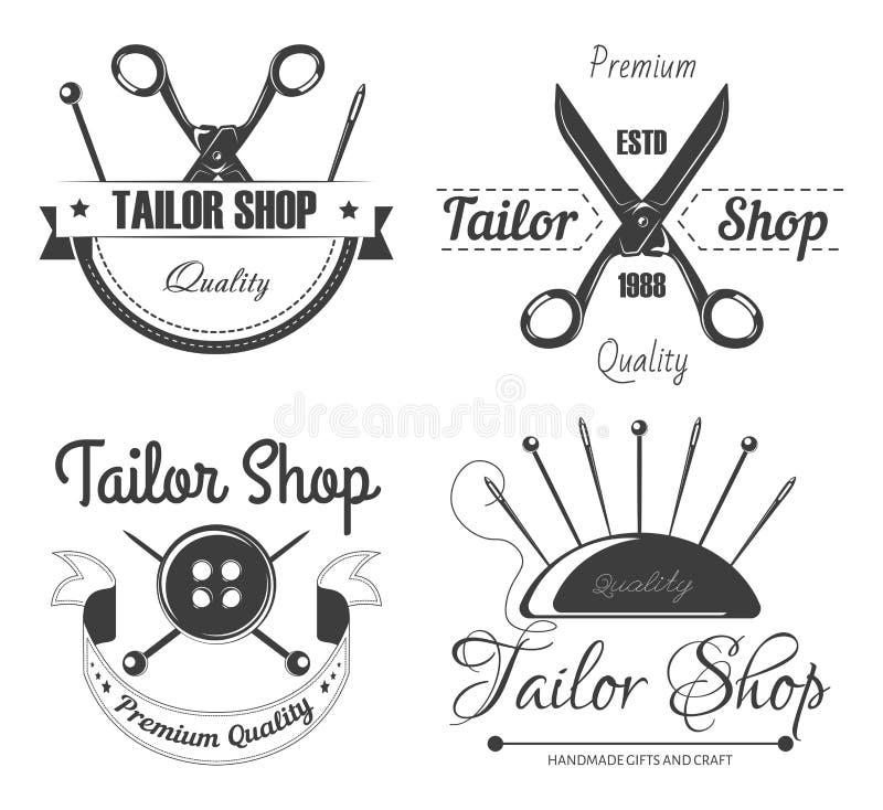 Las herramientas de costura adaptan la tienda aislaron los iconos que adaptan y reparación ilustración del vector