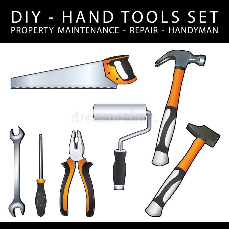 Las herramientas prácticas de DIY para el mantenimiento, la reparación y la manitas de la propiedad funcionan ilustración del vector