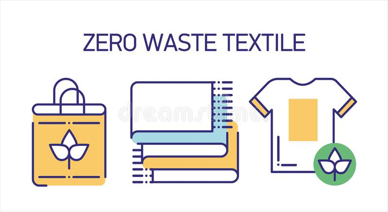 Las herramientas reciclables de la materia textil alinean el sistema de los iconos del color ilustración del vector