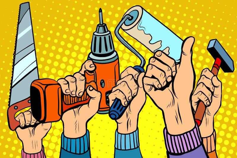 Las herramientas vieron el martillo del rodillo de pintura del taladro ilustración del vector