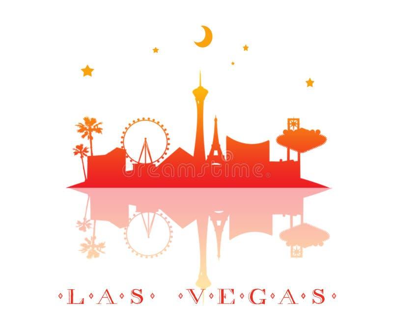 las het silhouet van de vegashorizon met kleurengradiënt stads vectorontwerp Geïsoleerd op een witte achtergrond stock illustratie