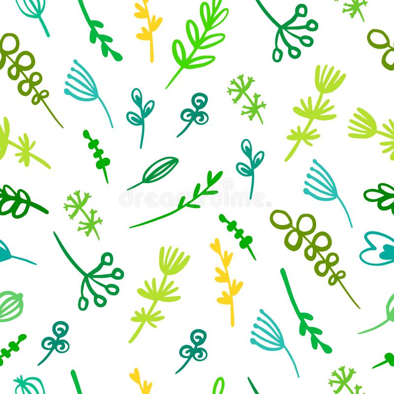 Las hierbas y las flores dan verde inconsútil exhausto del modelo y colores amarillos libre illustration