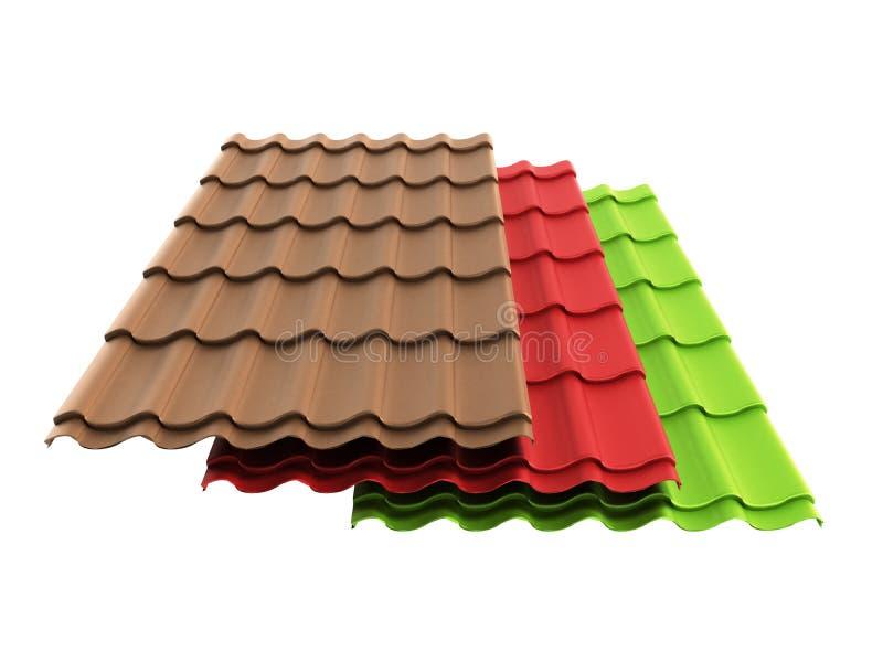 Las hojas 3d de la teja del metal rinden aislado en blanco stock de ilustración
