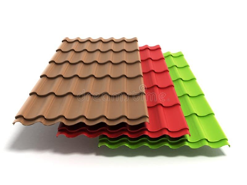 Las hojas 3d de la teja del metal rinden aislado en el fondo blanco stock de ilustración