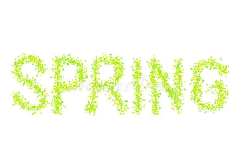 Las hojas de arce verdes claras del modelo de la primavera del texto saltan decoraci?n baja brillante jugosa del dise?o de la flo libre illustration