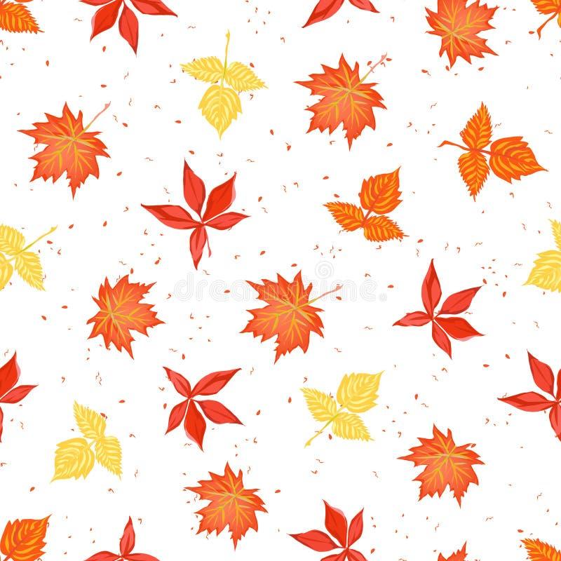 Las hojas de otoño brillantes en vector inconsútil del contexto manchado imprimen ilustración del vector