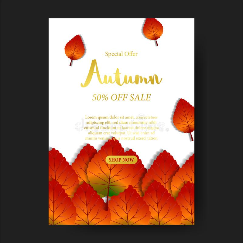Las hojas de otoño caen con el texto del oro y el fondo blanco plantilla de la oferta de la venta Modelo del cartel plantilla de  libre illustration