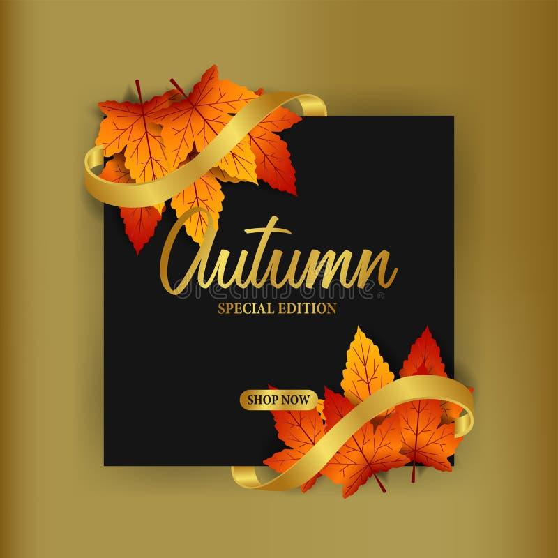 Las hojas de otoño caen con la cinta de oro con el fondo negro plantilla de la oferta de la venta plantilla del descuento del car libre illustration