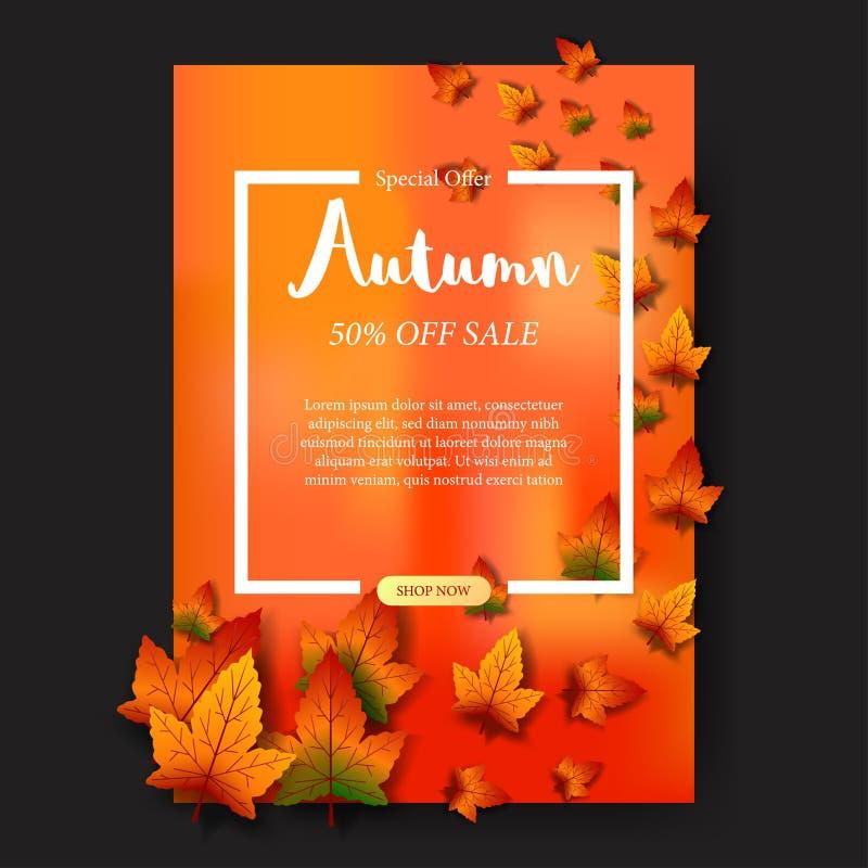Las hojas de otoño del flotador caen con el fondo anaranjado con el texto blanco plantilla de la venta del cartel Ilustración del stock de ilustración