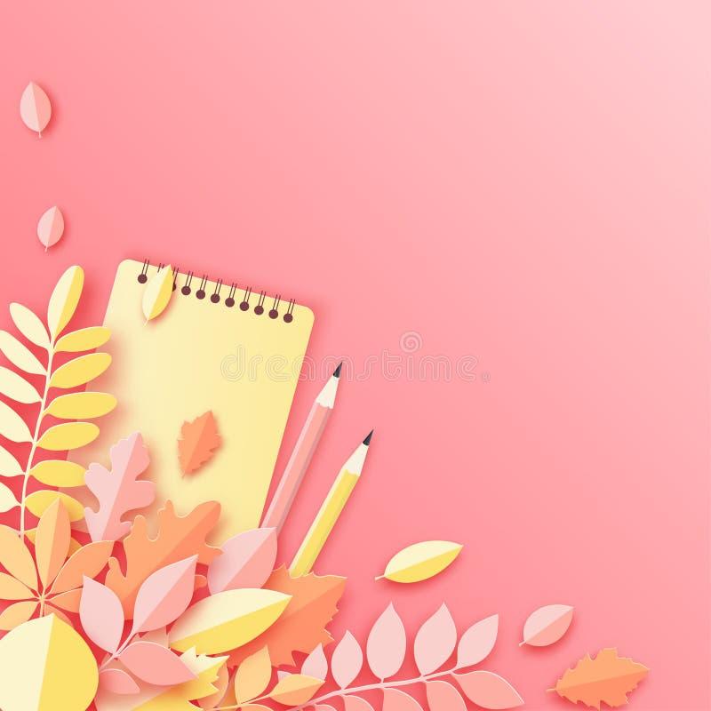 Las hojas de otoño, el cuaderno y el lápiz de papel, pastel colorearon el fondo ilustración del vector