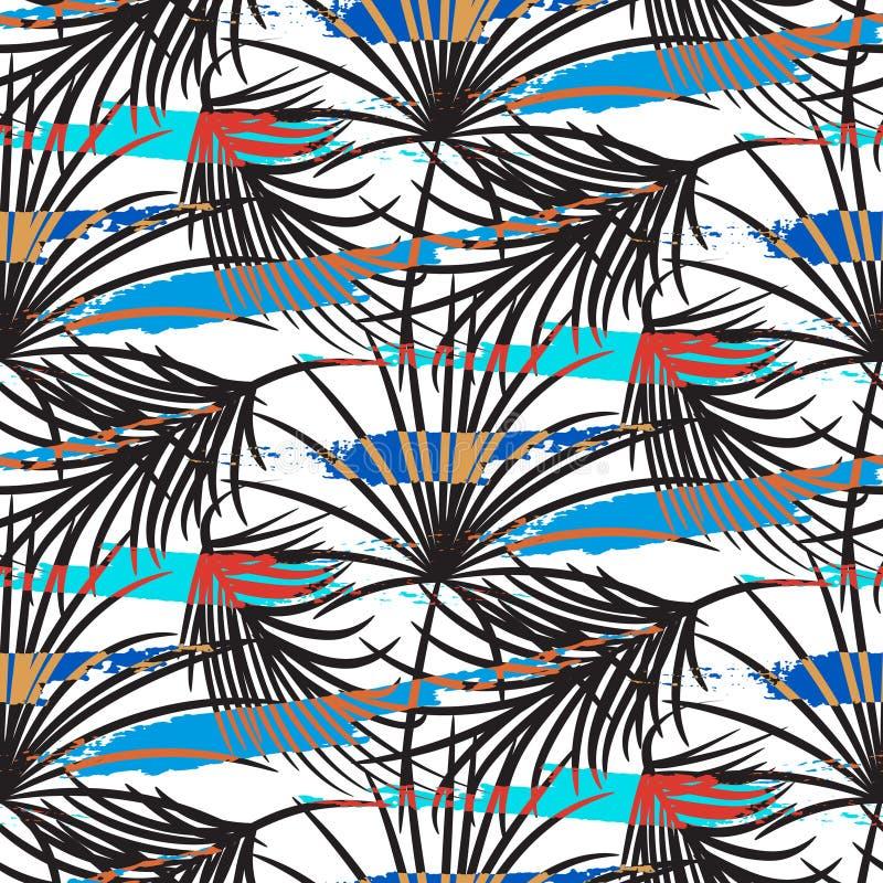 Las hojas de palma grises con el azul frotan ligeramente el modelo inconsútil del vector ilustración del vector