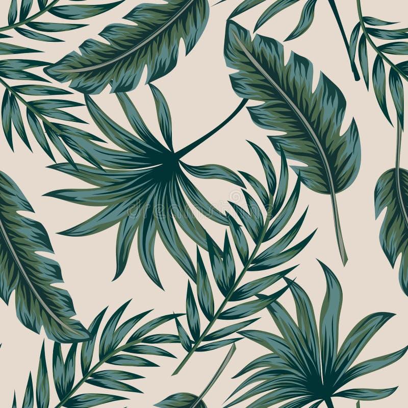 Las hojas de palma tropicales, selva salen del fondo incons?til del estampado de flores del vector libre illustration