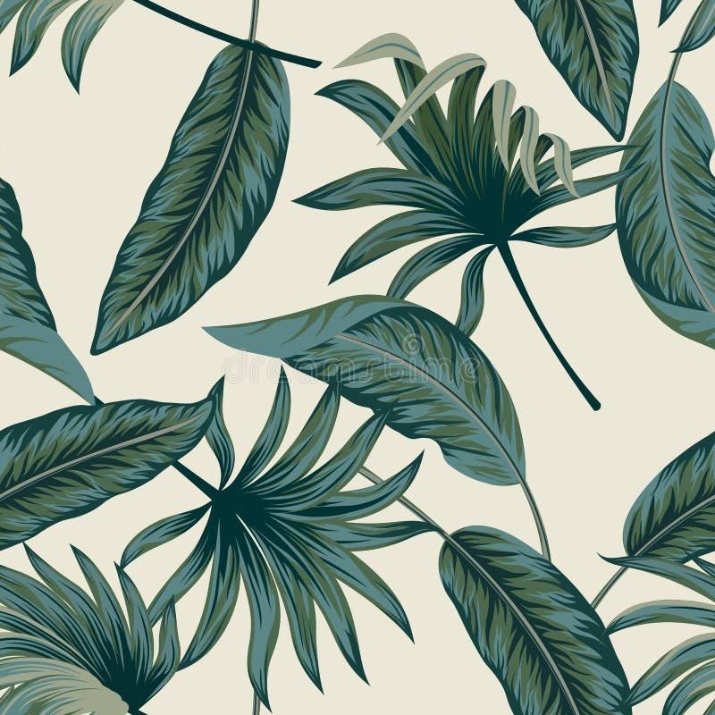 Las hojas de palma tropicales, selva salen del fondo incons?til del estampado de flores del vector ilustración del vector
