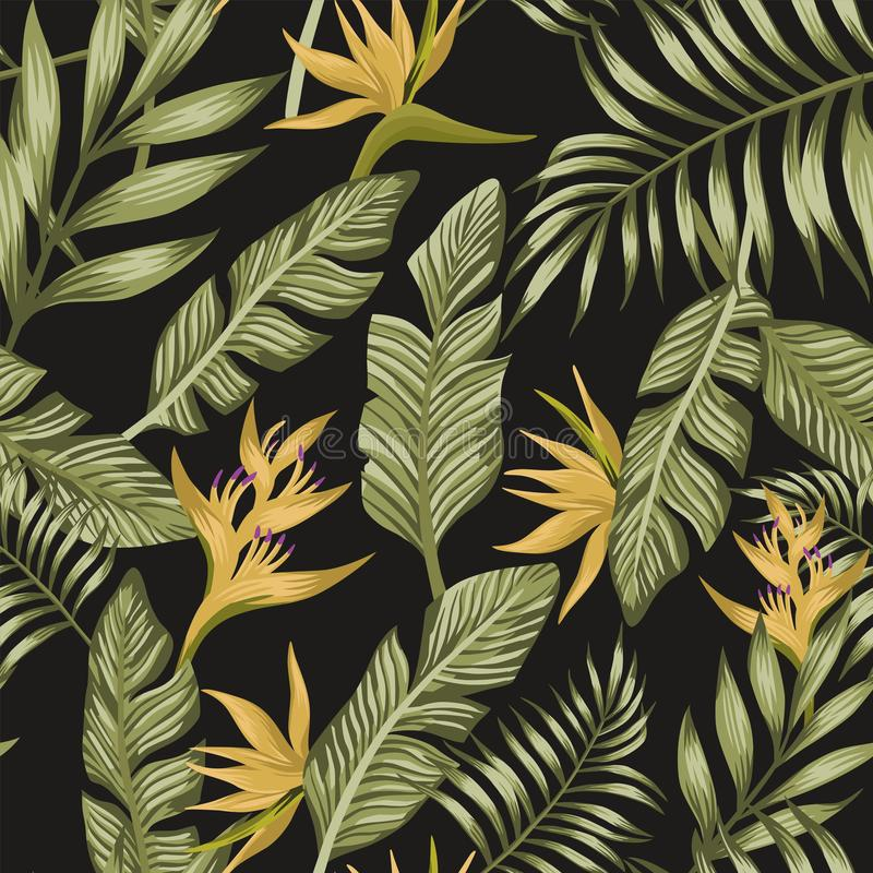 Las hojas de palma verdes amarillean backgro negro inconsútil de las flores tropicales libre illustration