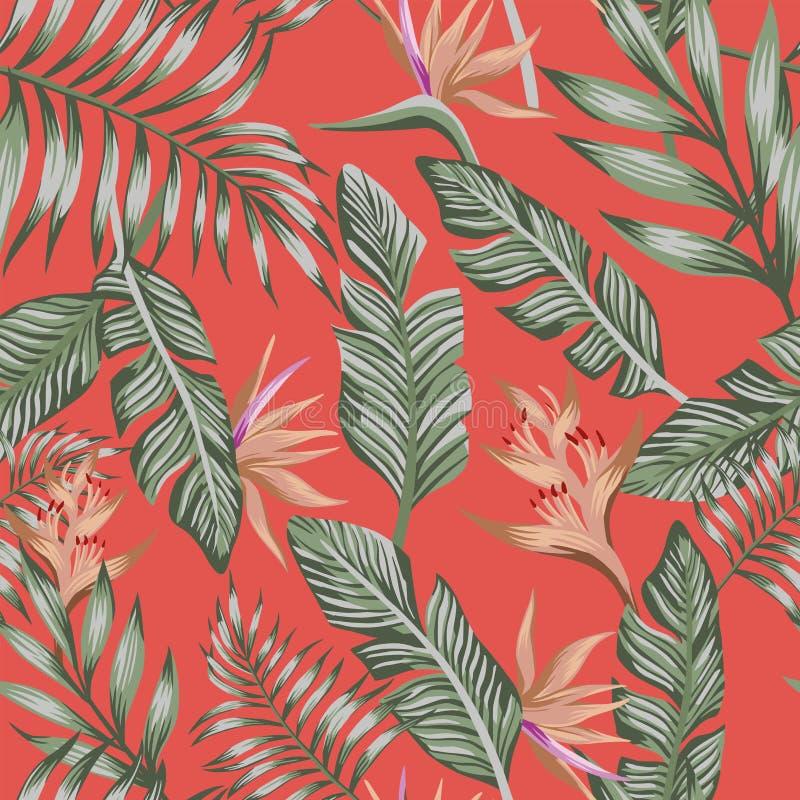 Las hojas de palma verdes broncean las flores tropicales b coralino de moda inconsútil libre illustration