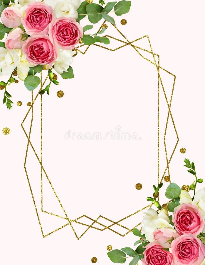 Las hojas del eucalipto, la fresia y la rosa del rosa florece en el arran de la esquina ilustración del vector