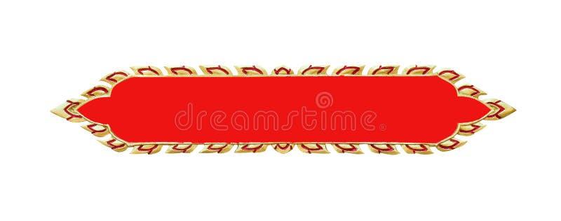 Las hojas del oro formaron el marco de la placa de muestra con la línea roja modelos para el texto aislado en el fondo blanco imagenes de archivo