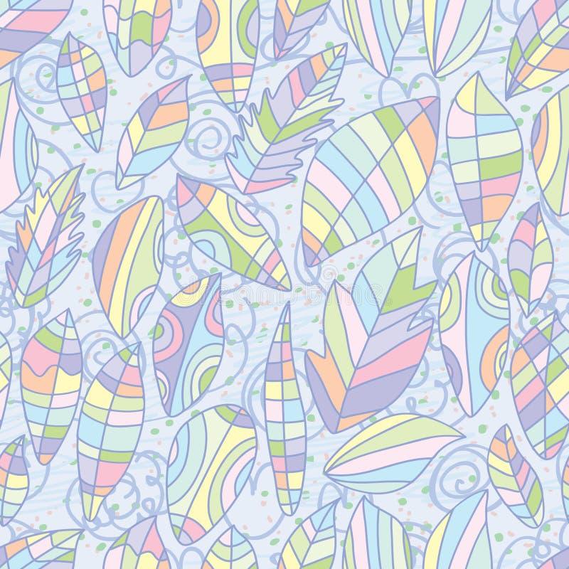 Las hojas diseñan el modelo inconsútil del color en colores pastel stock de ilustración