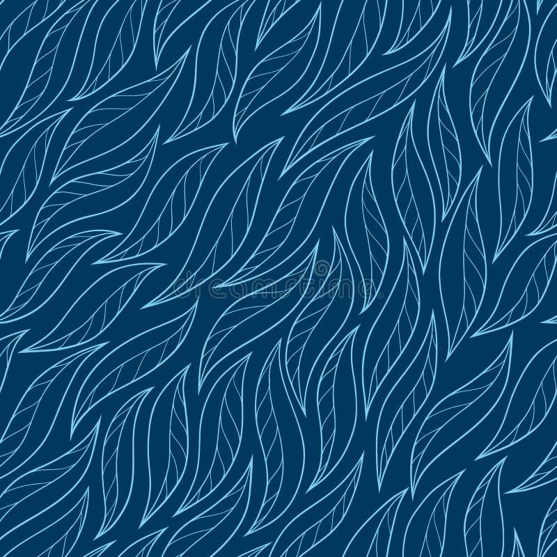 Las hojas en un fondo azul vector a mano abstracto inconsútil stock de ilustración