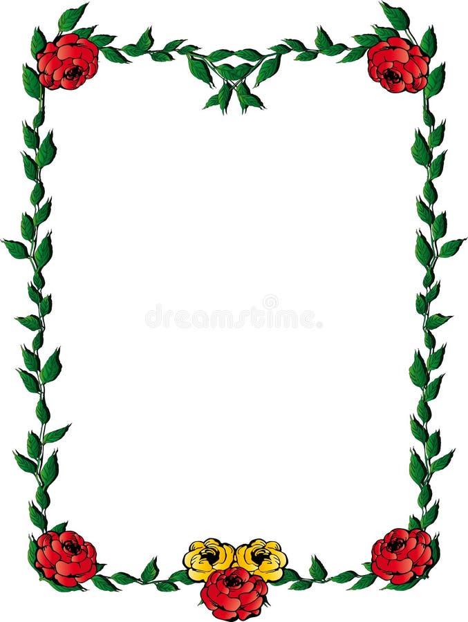 Las hojas enmarcan con las rosas ilustración del vector