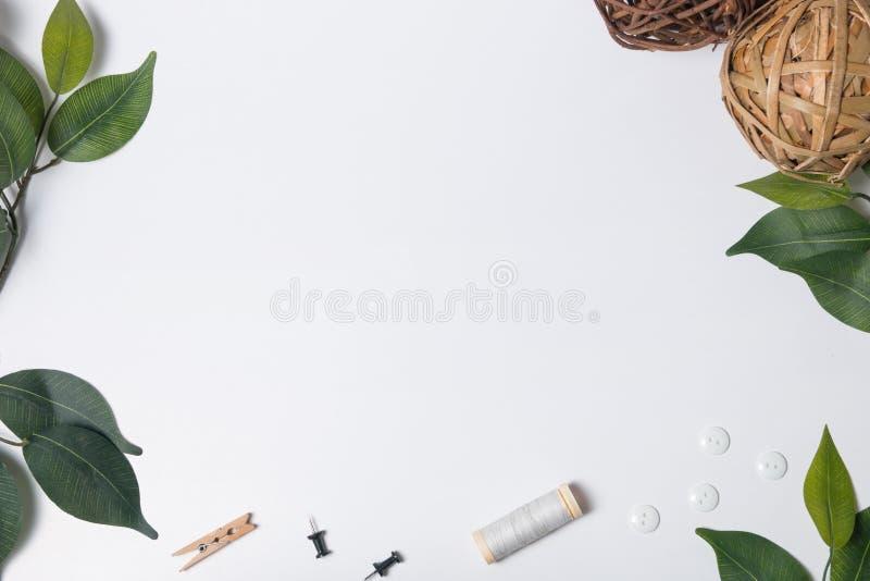 Las hojas enmarcan en los artes blancos imagenes de archivo