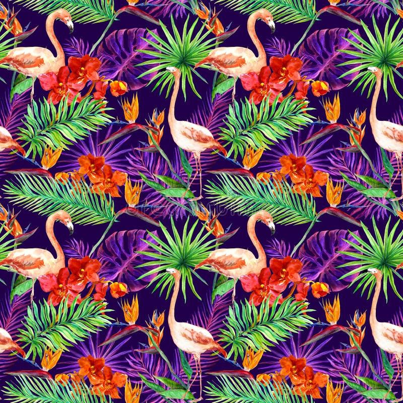 Las hojas exóticas tropicales, orquídea florecen, la luz de neón Modelo inconsútil watercolor imagen de archivo