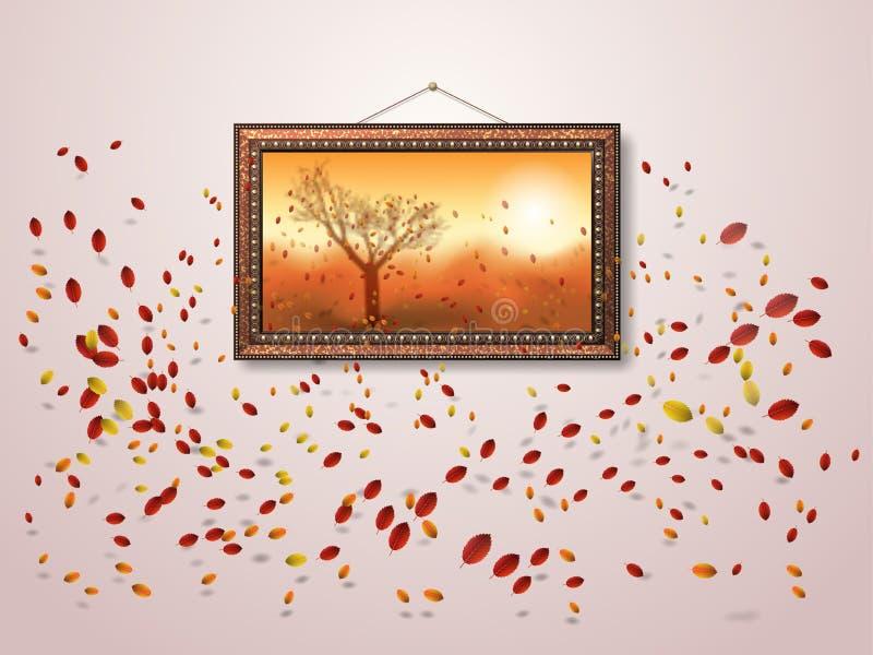 Las hojas que caen del otoño vuelan de la imagen y volar en el viento Plantilla del dise?o del oto?o stock de ilustración
