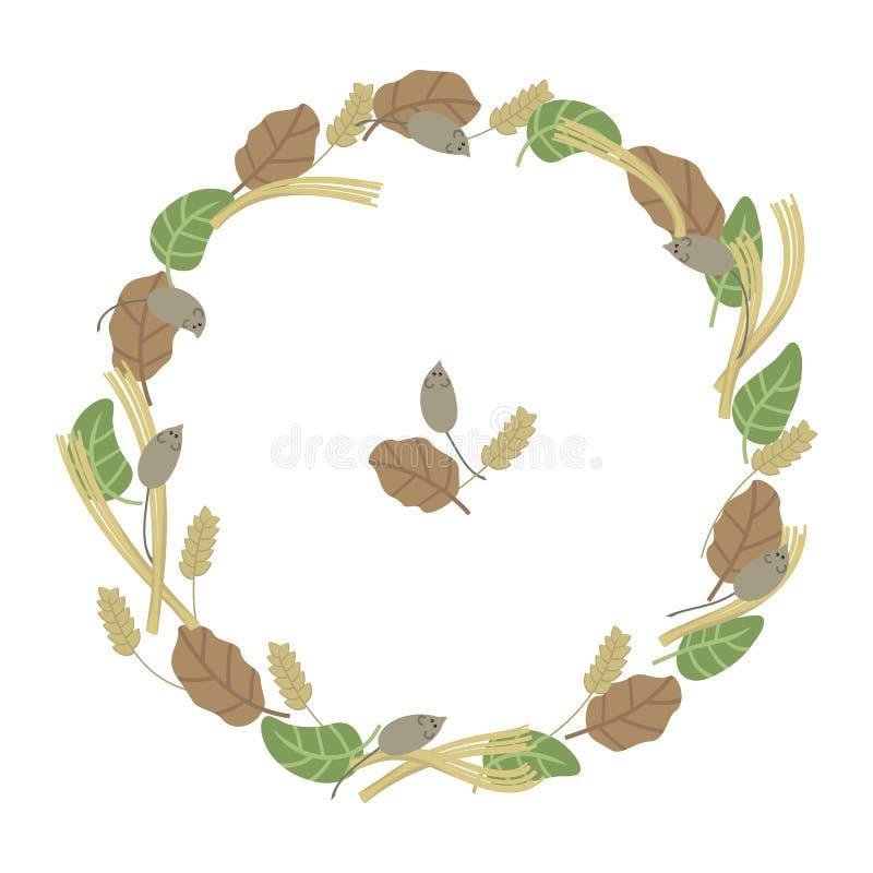 Las hojas sazonan la planta coloreada frío oganic de los animales de los ratones del oído del pueblo de la paja de la vegetación  stock de ilustración