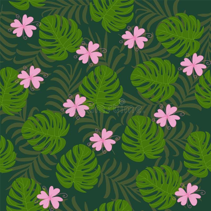 Las hojas tropicales del verano hermoso de la palma del plátano se ponen verde libre illustration