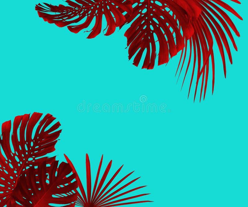 Las hojas tropicales enmarcan estilo del duotone en rojo y la turquesa con el espacio libre para su texto fotos de archivo libres de regalías