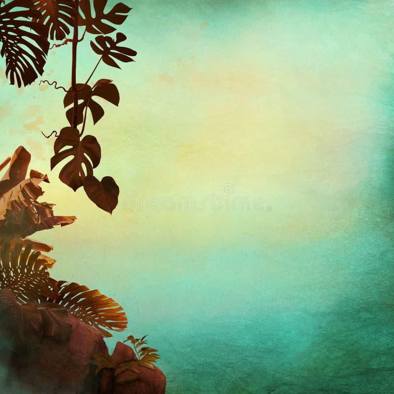 Las hojas tropicales enmarcan estilo del vintage en el papel viejo con el espacio libre para su texto libre illustration