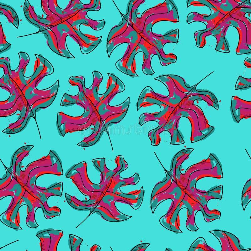 Las hojas tropicales magníficas dan vector repetido exhausto del modelo libre illustration