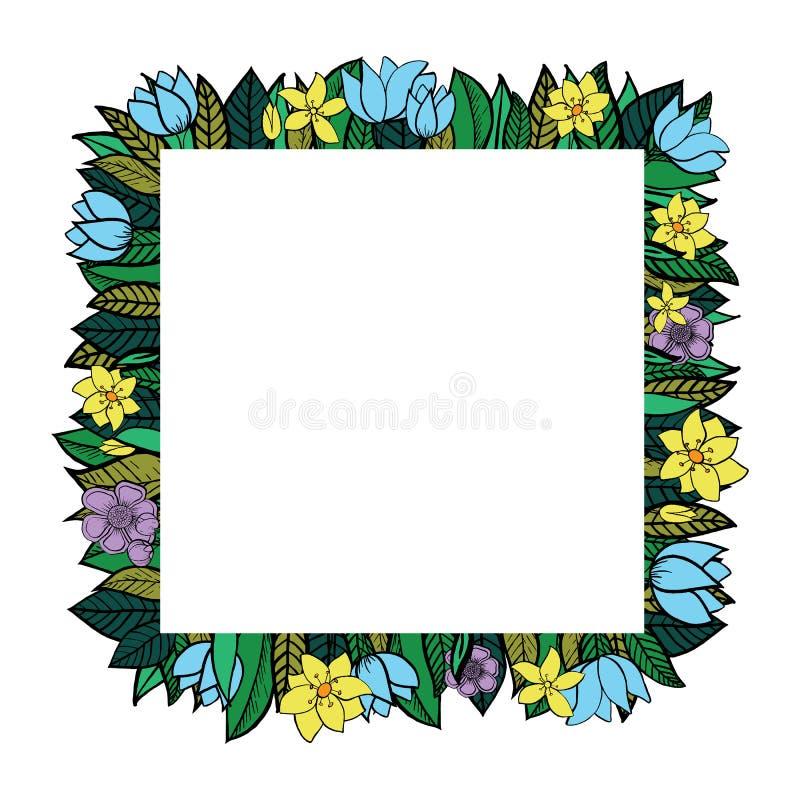 Las hojas y las flores del vector circundan el marco ilustración del vector
