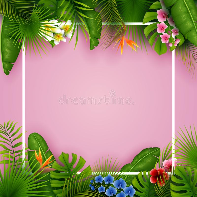Las hojas y las flores tropicales con el marco vacío ajustan en fondo rosado ilustración del vector