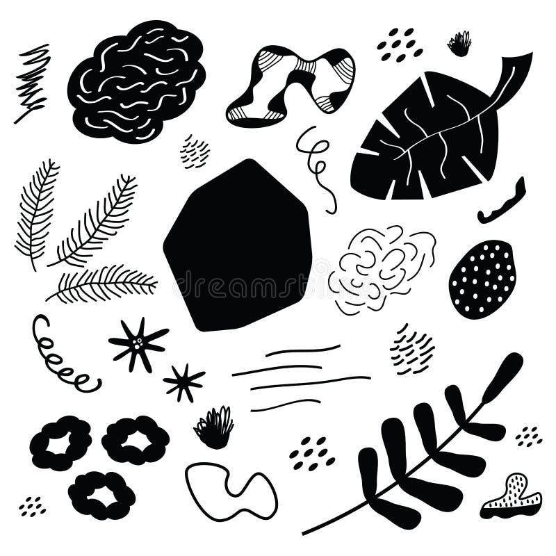 Las hojas y las piedras negras abstractas de la silueta diseñan los iconos del arte del elemento fijados en blanco stock de ilustración