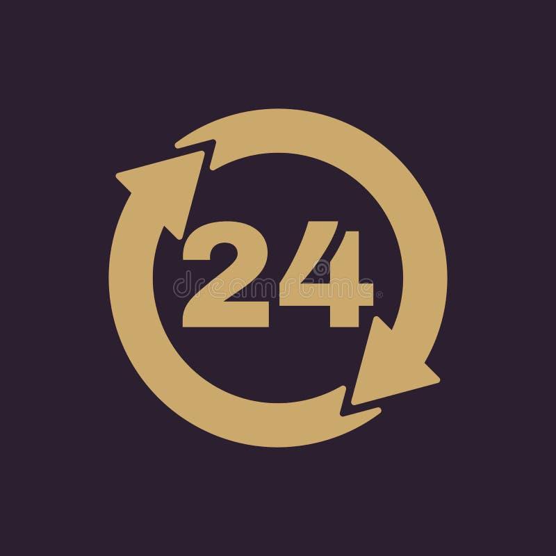 Las 24 horas de icono Veinticuatro horas abren símbolo plano ilustración del vector
