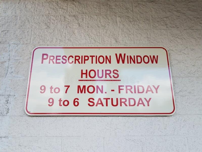 Las horas de la ventana de la prescripción firman épocas y días imagen de archivo