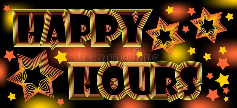 Las horas felices, cartelera espectacular loca para el restaurante o disco, beben en un descuento stock de ilustración