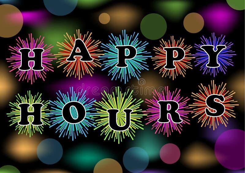 Las horas felices de cartelera con el fuego artificial y el bokeh coloridos se encienden, el vector eps10 Remolque para el restau stock de ilustración