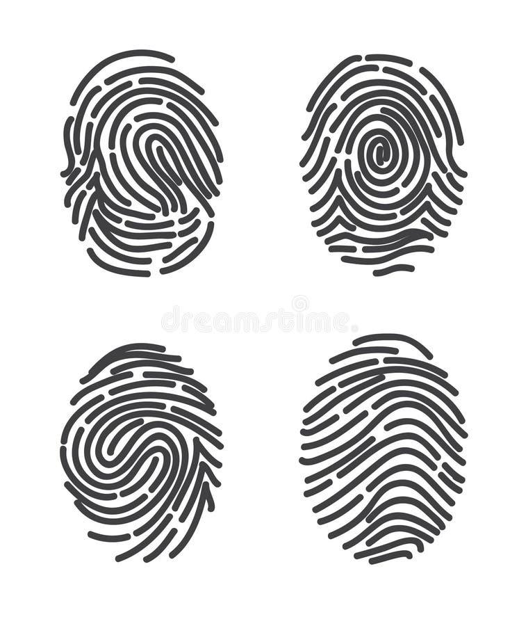 Las huellas dactilares fijaron vector del icono ilustración del vector