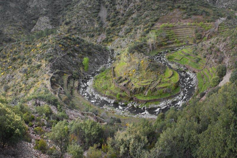 Las Hurdes slingringar, Extremadura region, Spanien arkivbild