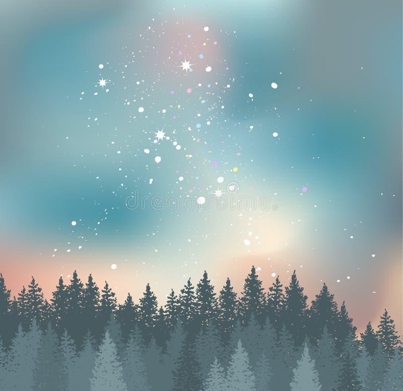 Las i nocne niebo z gwiazda wektoru tłem royalty ilustracja