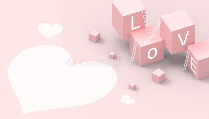Las ideas modernas de la caja aman concepto y el juego del negocio de la forma del corazón en fondo rosado en colores pastel ilustración del vector