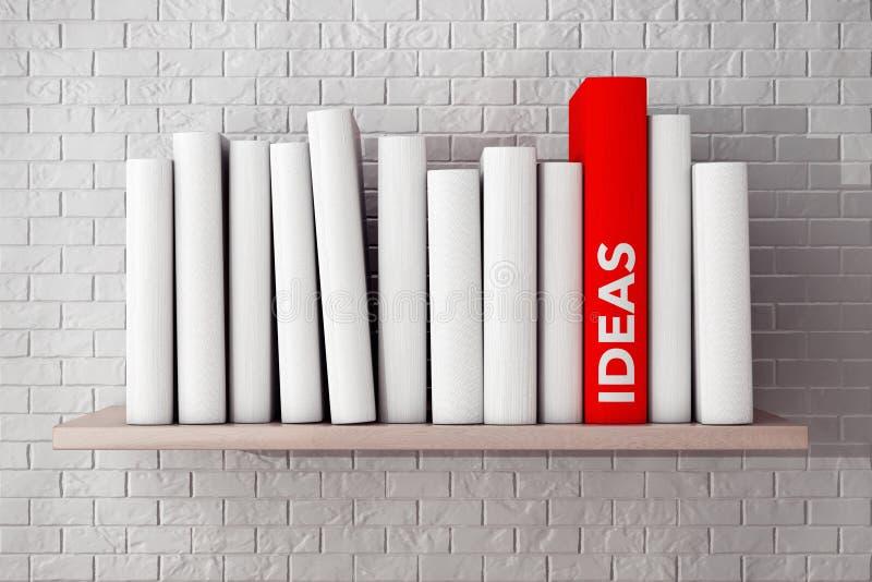 Las ideas rojas reservan en un estante con otros libros en blanco imagen de archivo libre de regalías